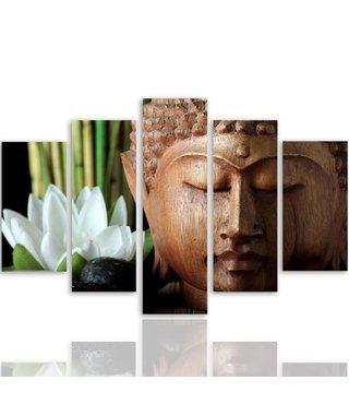 Schilderij , Boeddha en witte Lely , bruin groen wit ,4 maten , 5 luik , wanddecoratie , Premium print , XXL