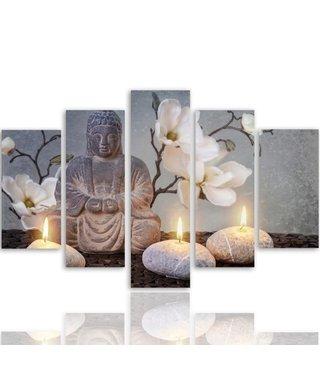 Schilderij , Boeddha en witte zen stenen, grijs wit ,4 maten , 5 luik , wanddecoratie , Premium print , XXL