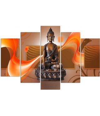 Schilderij , Boeddha in oranje golven , bruin oranje ,4 maten , 5 luik , wanddecoratie , Premium print , XXL