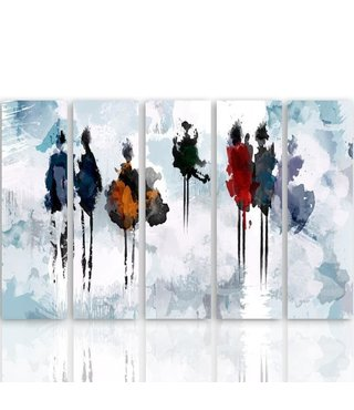 Schilderij , Geschilderde mensen ,4 maten , 5 luik , multikleur, wanddecoratie , Premium print , XXL