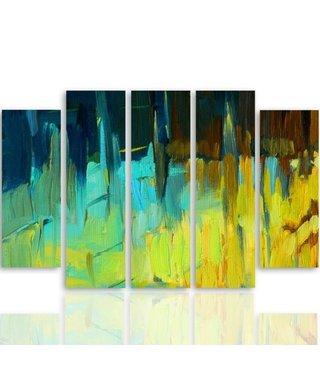 Schilderij , Abstract Landschap II ,4 maten , 5 luik , multikleur, wanddecoratie , Premium print , XXL