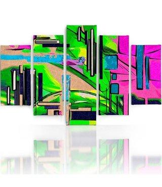 Schilderij , Abstract Landschap ,4 maten , 5 luik , multikleur, wanddecoratie , Premium print , XXL