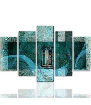 Schilderij , Deuren in abstract ,4 maten , 5 luik , multikleur, wanddecoratie , Premium print , XXL