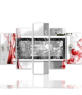 Schilderij , Grijs wit vlak in kader ,4 maten , 5 luik , multikleur, wanddecoratie , Premium print , XXL