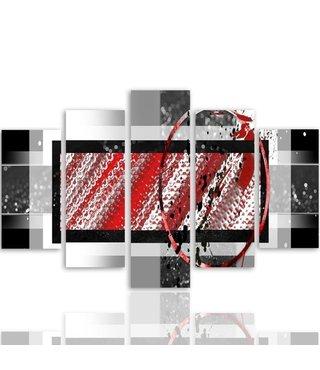Schilderij , Rood witte sporen in kader ,4 maten , 5 luik , multikleur, wanddecoratie , Premium print , XXL