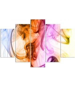 Schilderij , Gekleurde rook ,4 maten , 5 luik , multikleur, wanddecoratie , Premium print , XXL