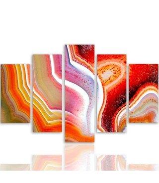 Schilderij , Gekleurde golven ,4 maten , 5 luik , multikleur, wanddecoratie , Premium print , XXL