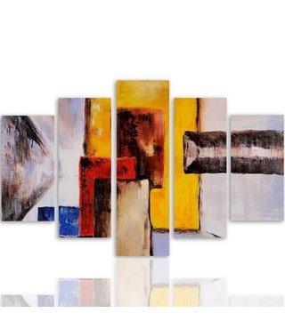 Schilderij , Gekleurde vlakken ,4 maten , 5 luik , multikleur, wanddecoratie , Premium print , XXL