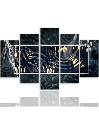 Schilderij , Donkere waterringen in kader ,4 maten , 5 luik , zwart wit, wanddecoratie , Premium print , XXL