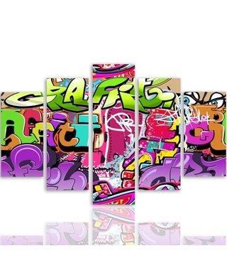 Schilderij , Graffiti in graffiti  ,4 maten , 5 luik , multikleur , wanddecoratie , Premium print , XXL