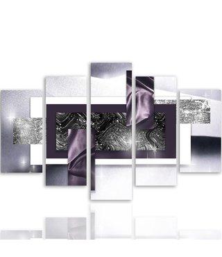 Schilderij , Kader met chique design ,4 maten , 5 luik , zwart wit grijs , wanddecoratie , Premium print , XXL