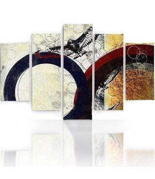 Schilderij , Vogel met donkere ringen ,4 maten , 5 luik , multikleur , wanddecoratie , Premium print , XXL