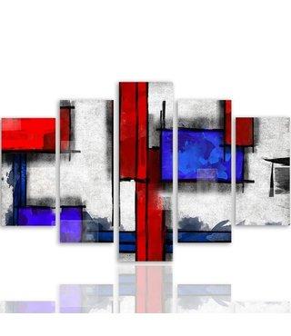 Schilderij , Rode en blauwe vlakken op wit  ,4 maten , 5 luik , multikleur , wanddecoratie , Premium print , XXL