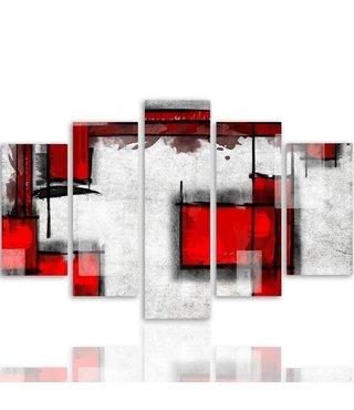 Schilderij , Rode vlakken op wit  ,4 maten , 5 luik , wit rood zwart , wanddecoratie , Premium print , XXL