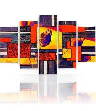 Schilderij , Abstracte Tulp  ,4 maten , 5 luik , multikleur , wanddecoratie , Premium print , XXL
