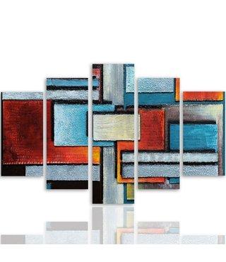 Schilderij , Strakke vlakken  ,4 maten , 5 luik , multikleur , wanddecoratie , Premium print , XXL