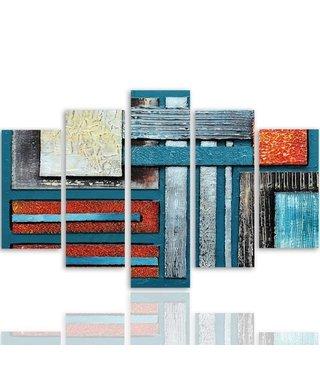 Schilderij , Strakke vlakken en strepen  ,4 maten , 5 luik , multikleur , wanddecoratie , Premium print , XXL
