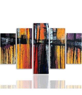 Schilderij , Abstracte Brug  ,4 maten , 5 luik , rood oranje zwart , wanddecoratie , Premium print , XXL