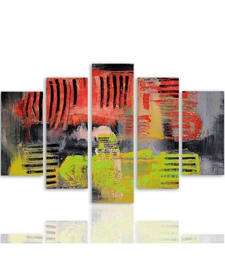 Schilderij , Abstracte Hond ,4 maten , 5 luik , rood geel zwart , wanddecoratie , Premium print , XXL