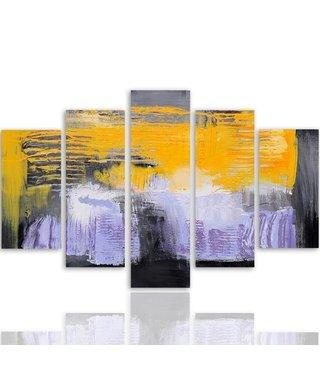 Schilderij , Abstracte waterval ,4 maten , 5 luik , wit geel zwart , wanddecoratie , Premium print , XXL