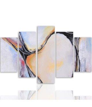 Schilderij , Gekleurde vakken  in pastel,4 maten , 5 luik , multikleur , wanddecoratie , Premium print , XXL