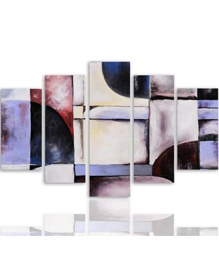 Schilderij , Gekleurde vakken ,4 maten , 5 luik , multikleur , wanddecoratie , Premium print , XXL