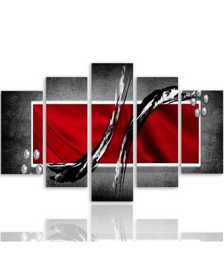 Schilderij , Rood kader met zwarte vegen , 4 maten , 5 luik , wanddecoratie , Premium print , XXL