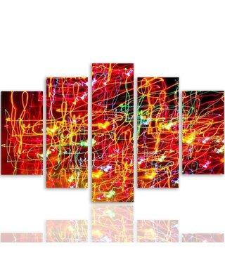 Schilderij , Abstract Rode vlammen , rood geel zwart , 4 maten , 5 luik , wanddecoratie , Premium print , XXL