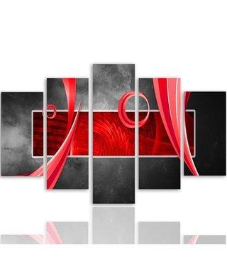 Schilderij ,Rood kader met ringen, rood grijs , 4 maten , 5 luik , wanddecoratie , Premium print , XXL
