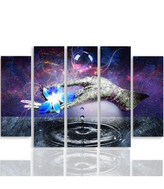 Schilderij , Blauwe Waterlelie op hand , 4 maten , 5 luik , multikleur , wanddecoratie , XXL