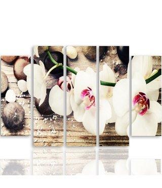 Schilderij Witte Orchidee op Zen stenen, 5 luik, 4 maten