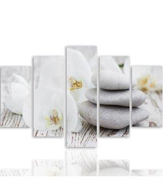 Schilderij , Orchidee met Zen stenen , 4 maten , 5 luik , wit grijs , Premium print , XXL