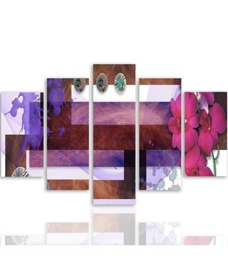 Schilderij , Compositie van Orchideeën , 4 maten , 5 luik , multikleur ,Wanddecoratie , XXL