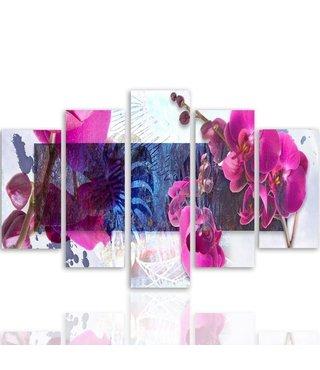 Schilderij , Roze Orchidee 2, 4 maten , 5 luik , Roze blauw wit , Premium print , XXL
