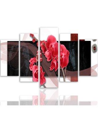 Schilderij , Roze Orchidee , 4 maten , 5 luik , Roze zwart wit , Premium print , XXL