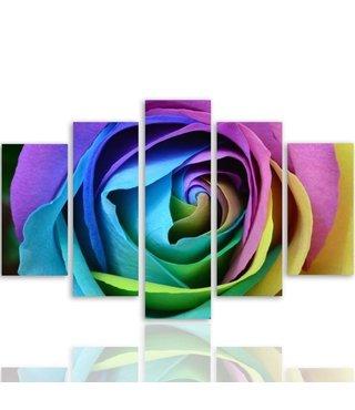 Schilderij , Regenboog Roos , 4 maten , 5 luik , Multikleur , Premium print , XXL