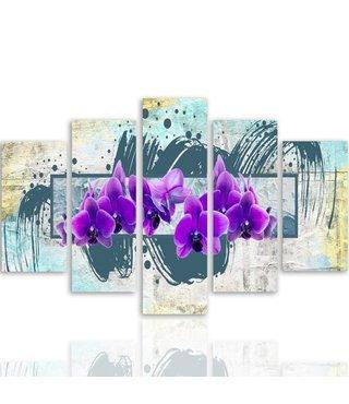 Schilderij , Paarse Viooltjes , 4 maten , 5 luik , groen paars , Premium Print , XXL