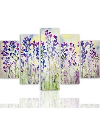 Schilderij , Paarse bloemetjes , 4 maten , 5 luik , multikleur , Premium print , XXL