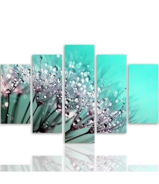 Schilderij , Waterdruppels op Paardebloem , 4 maten , 5 luik , groen wit , Premium print , XXL