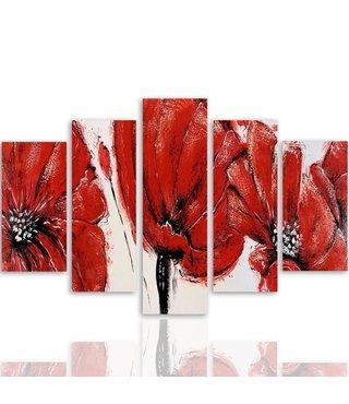 Schilderij , rode bloemen , 4 maten , 5 luik , rood wit , Premium print XXL