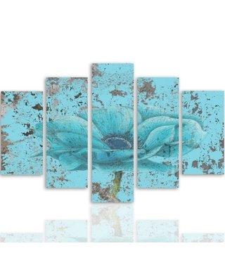 Schilderij , Blauwe Bloem , 4 maten , 5 luik , wanddecoratie ,Premium print XXL