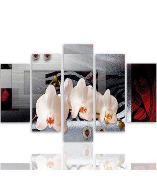 Schilderij , Orchidee , 5 luik , wit grijs rood , 4 maten , Premium print XXL