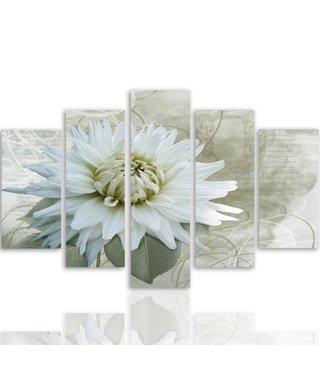Schilderij Witte Bloesem, 5 luik, 4 maten, premium print XXL