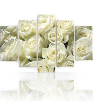 Schilderij Witte Rozen, 5 luik, 4 maten, premium print, wanddecoratie