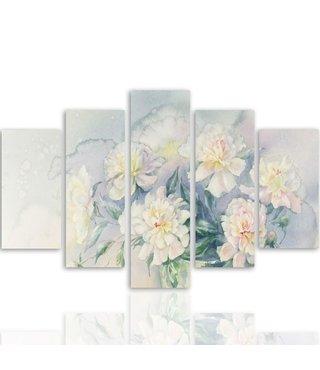 Schilderij een mooi boeket bloemen, 5 luik, 4 maten, wanddecoratie