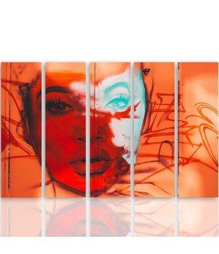Schilderij Gezicht van een vrouw in kleuren, 5 luik, 4 maten