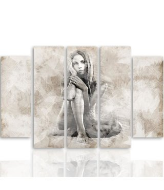 Schilderij Vrouw in dromen, 5 luik, 4 maten, wanddecoratie