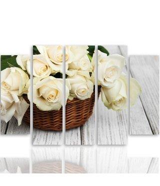 Schilderij Witte rozen in een mand, 5 luik, 4 maten, premium print