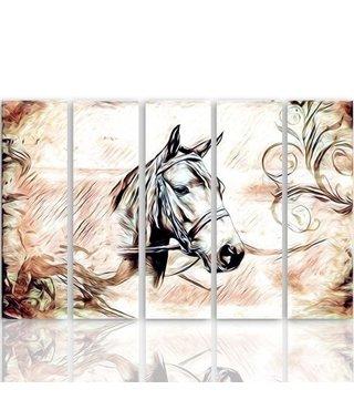 Schilderij Paard in close up, 5 luik, 4 maten, premium print