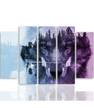 Schilderij Wolf in het bos in paars en blauw, 5 luik, 4 maten